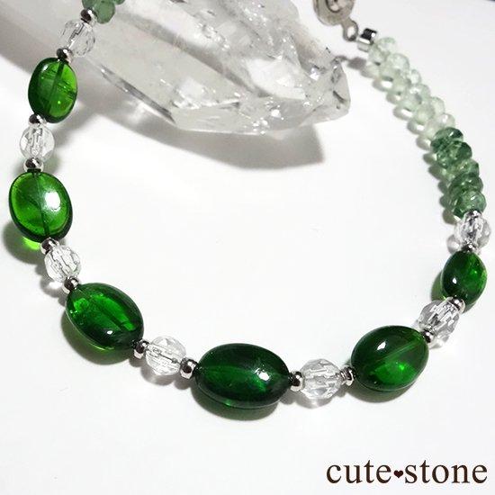 【Treasure of Dryad】クロムダイオプサイト グリーンアパタイト プレナイト 水晶 のブレスレットの写真2 cute stone