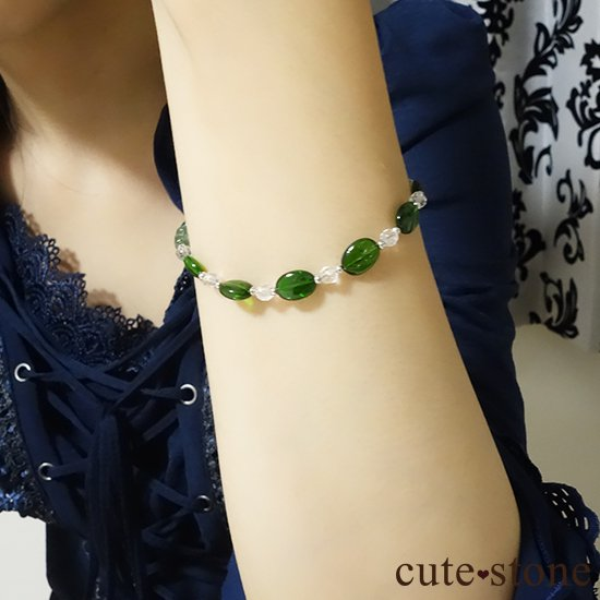 【Treasure of Dryad】クロムダイオプサイト グリーンアパタイト プレナイト 水晶 のブレスレットの写真4 cute stone