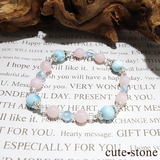 【beautiful sea】ラリマー ピンクオパール ブルートパーズ 水晶のブレスレットの写真5 cute stone