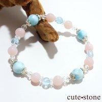 【beautiful sea】ラリマー ピンクオパール ブルートパーズ 水晶のブレスレットの画像