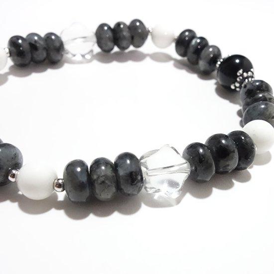 【Mono tone】モリオン ラルビカイト ホワイトシェル 水晶のブレスレットの写真3 cute stone