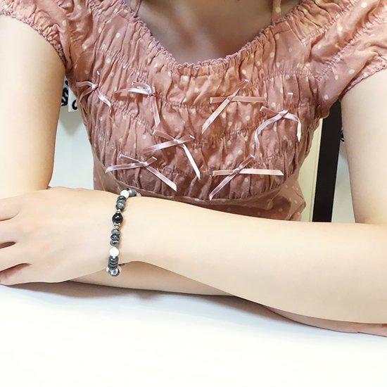 【Mono tone】モリオン ラルビカイト ホワイトシェル 水晶のブレスレットの写真4 cute stone