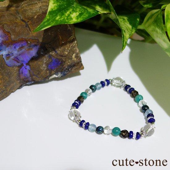 【自然の脈動】水晶 ラピスラズリ スモーキークォーツ  アマゾナイト クリソコラ ブルーフローライトのブレスレットの写真3 cute stone