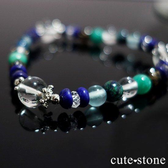 【自然の脈動】水晶 ラピスラズリ スモーキークォーツ  アマゾナイト クリソコラ ブルーフローライトのブレスレットの写真4 cute stone