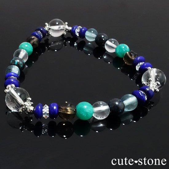 【自然の脈動】水晶 ラピスラズリ スモーキークォーツ  アマゾナイト クリソコラ ブルーフローライトのブレスレットの写真5 cute stone