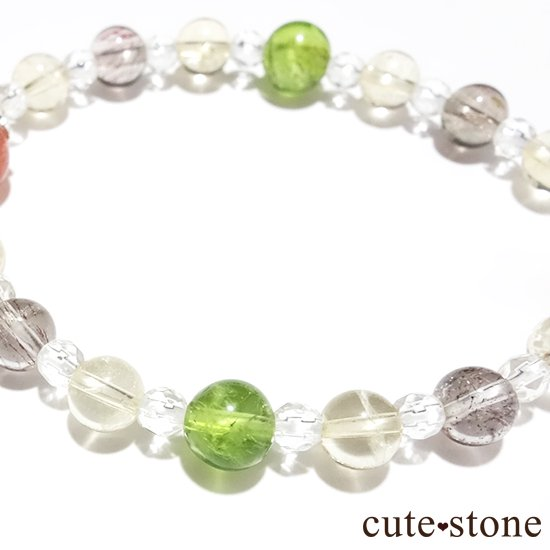 【ふたつの太陽】 サンストーン ペリドット エレスチャルクォーツ シトリン 水晶のブレスレットの写真1 cute stone