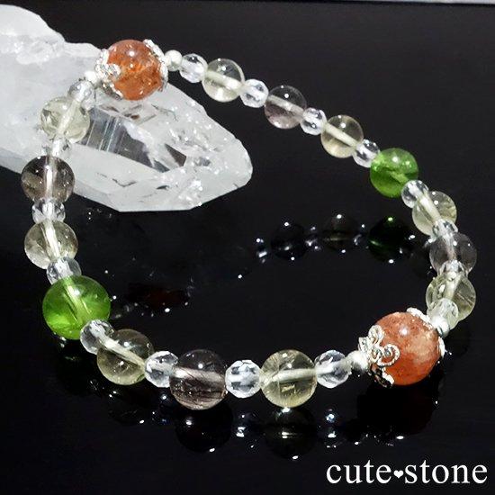 【ふたつの太陽】 サンストーン ペリドット エレスチャルクォーツ シトリン 水晶のブレスレットの写真2 cute stone
