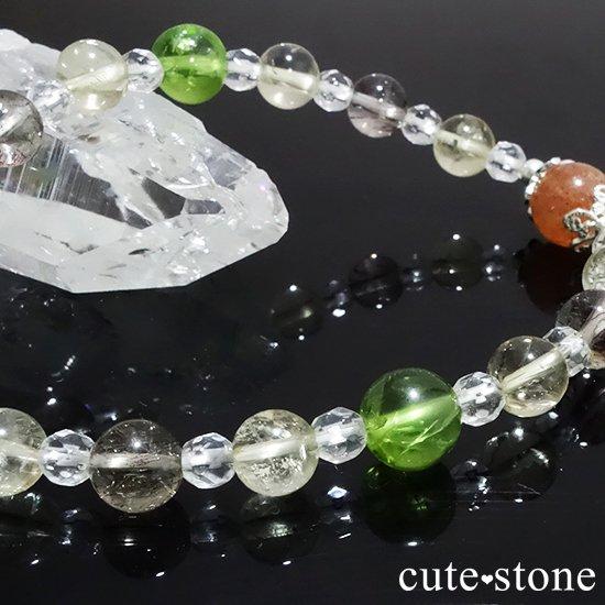 【ふたつの太陽】 サンストーン ペリドット エレスチャルクォーツ シトリン 水晶のブレスレットの写真3 cute stone