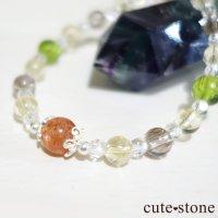 【ふたつの太陽】 サンストーン ペリドット エレスチャルクォーツ シトリン 水晶のブレスレットの画像
