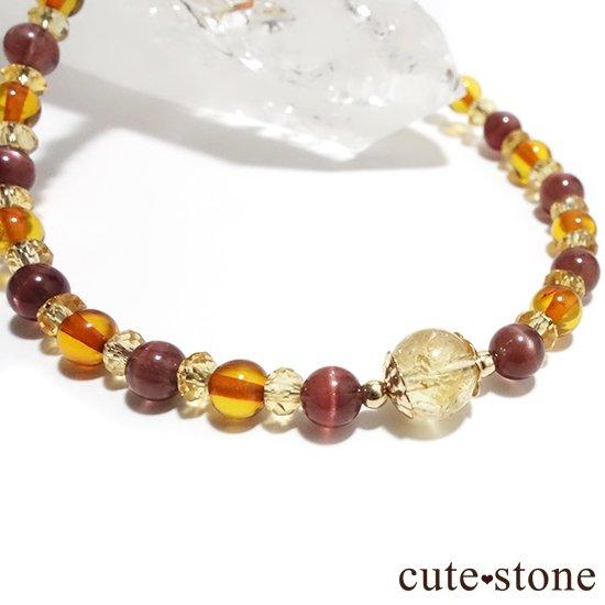【Honey Ring】インペリアルトパーズ レッドスキャポライト シトリン バルティックアンバー のブレスレットの写真1 cute stone
