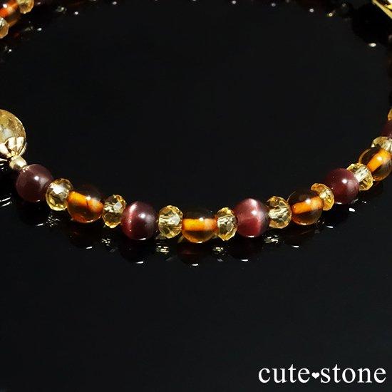 【Honey Ring】インペリアルトパーズ レッドスキャポライト シトリン バルティックアンバー のブレスレットの写真3 cute stone