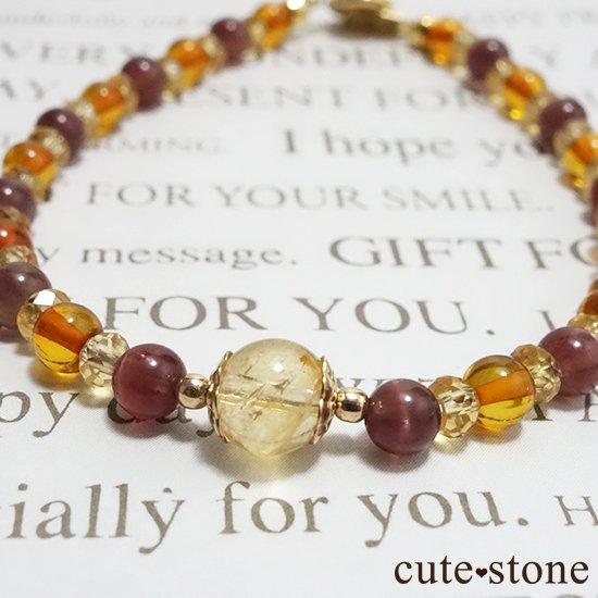 【Honey Ring】インペリアルトパーズ レッドスキャポライト シトリン バルティックアンバー のブレスレットの写真5 cute stone
