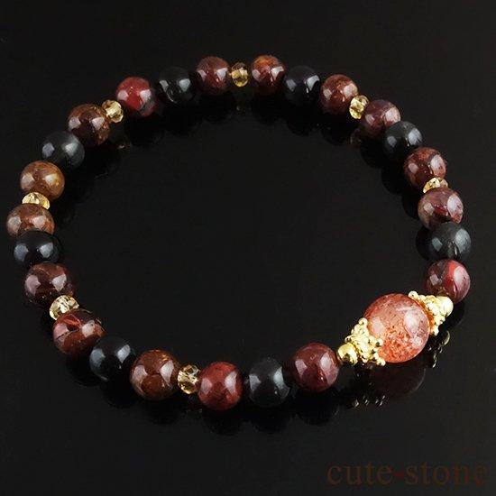 【大地の輝き】 サンストーン ピーターサイト ブラックスキャポライト シトリンのブレスレットの写真1 cute stone