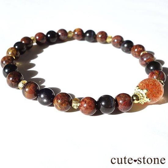【大地の輝き】 サンストーン ピーターサイト ブラックスキャポライト シトリンのブレスレットの写真2 cute stone