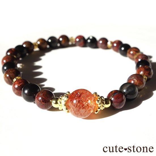 【大地の輝き】 サンストーン ピーターサイト ブラックスキャポライト シトリンのブレスレットの写真3 cute stone