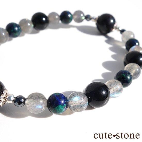 【Cosmo bracelet】ブラックマトリックスオパール アズライト ラブラドライト ブラックネフライト ヘマタイト ブレスレットの写真0 cute stone