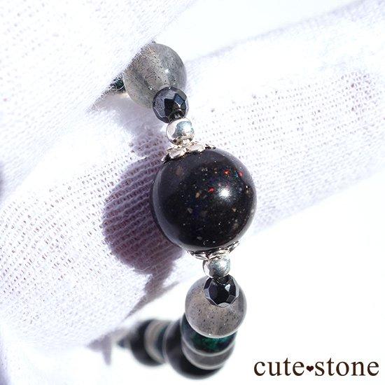 【Cosmo bracelet】ブラックマトリックスオパール アズライト ラブラドライト ブラックネフライト ヘマタイト ブレスレットの写真1 cute stone