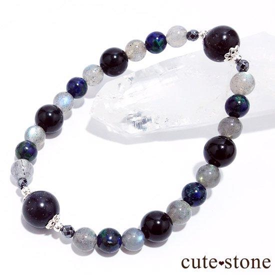 【Cosmo bracelet】ブラックマトリックスオパール アズライト ラブラドライト ブラックネフライト ヘマタイト ブレスレットの写真3 cute stone