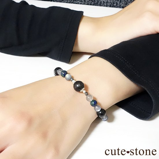 【Cosmo bracelet】ブラックマトリックスオパール アズライト ラブラドライト ブラックネフライト ヘマタイト ブレスレットの写真4 cute stone