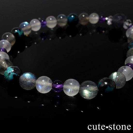 【夜空のささめき】アイオライト アメジスト ブルームーンストーン ラブラドライト クリソコラ 水晶のブレスレットの写真1 cute stone
