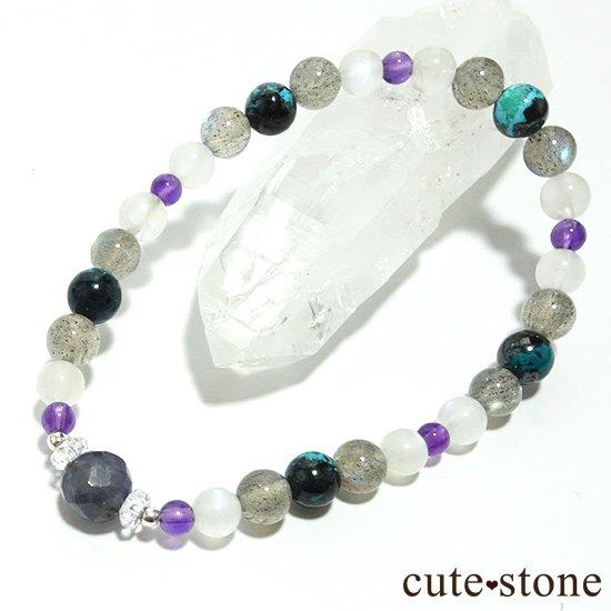 【夜空のささめき】アイオライト アメジスト ブルームーンストーン ラブラドライト クリソコラ 水晶のブレスレットの写真4 cute stone