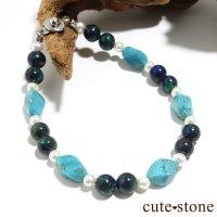 【Treasure of Mermaid】ターコイズ アズライト 淡水真珠のブレスレットの画像