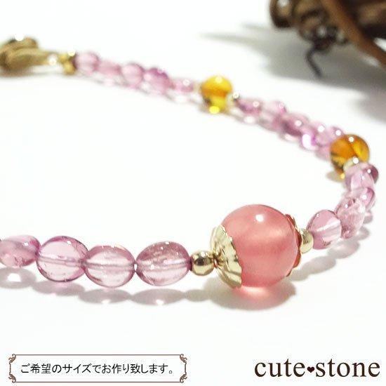 【Le Spectre de la Rose】インカローズ(ロードクロサイト) ピンクトルマリン アンバーのブレスレットの写真2 cute stone