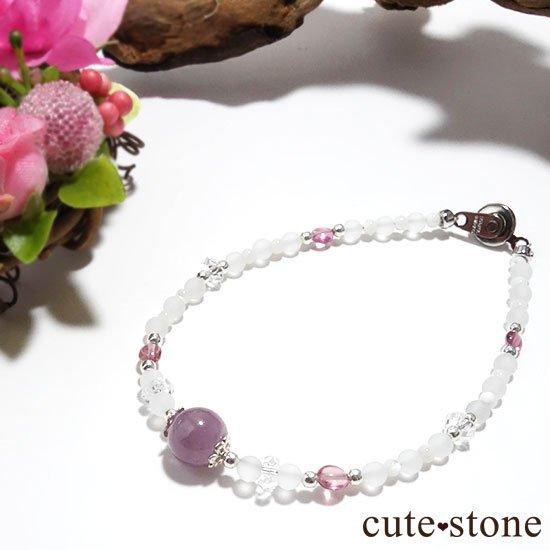【浅紫の花】1点もの!パープルトルマリン ピンクトルマリン 水晶 マザーオブパールを使ったブレスレット