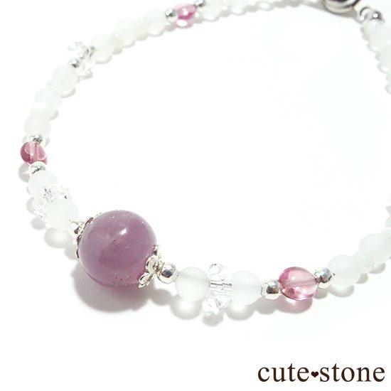 【浅紫の花】1点もの!パープルトルマリン ピンクトルマリン 水晶 マザーオブパールを使ったブレスレットの写真0 cute stone