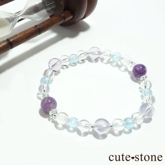 【山紫水明】スコロライト エンジェルシリカ アイスクリスタル ブルートパーズのブレスレットの写真1 cute stone