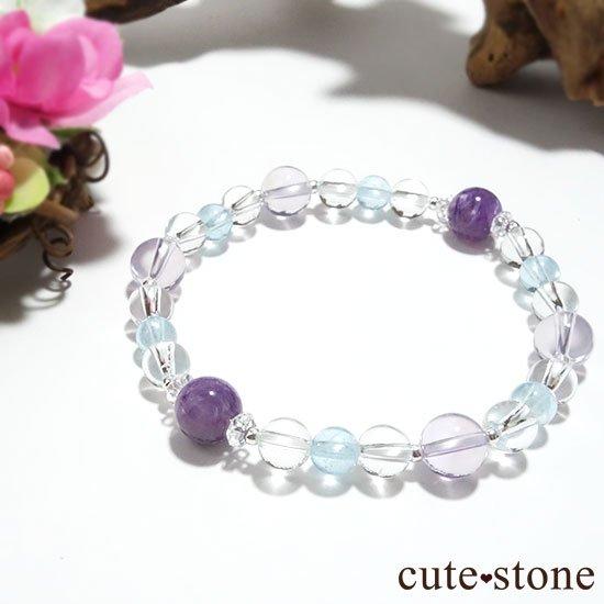 【山紫水明】スコロライト エンジェルシリカ アイスクリスタル ブルートパーズのブレスレットの写真5 cute stone