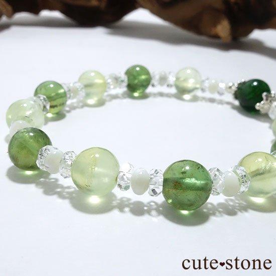 【Treasure of Dryad】クロムダイオプサイト プレナイト グリーンアパタイトのブレスレットの写真2 cute stone