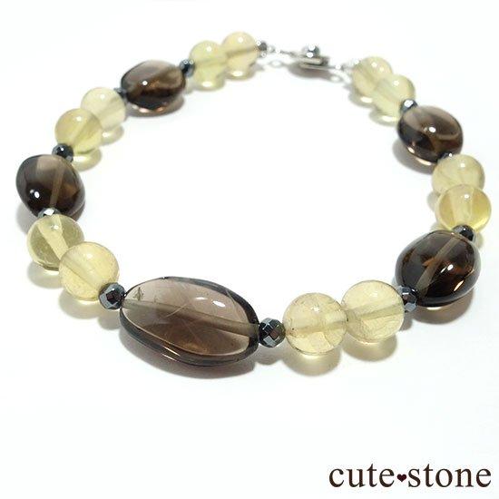 【Leopard Color】スモーキークォーツ イエローフローライト ヘマタイトのブレスレットの写真0 cute stone