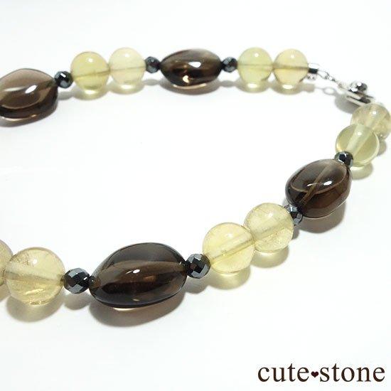 【Leopard Color】スモーキークォーツ イエローフローライト ヘマタイトのブレスレットの写真2 cute stone