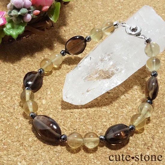 【Leopard Color】スモーキークォーツ イエローフローライト ヘマタイトのブレスレットの写真4 cute stone