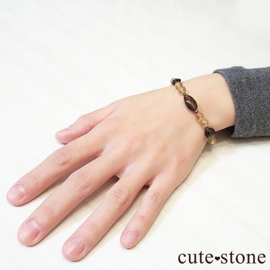【Leopard Color】スモーキークォーツ イエローフローライト ヘマタイトのブレスレットの写真5 cute stone