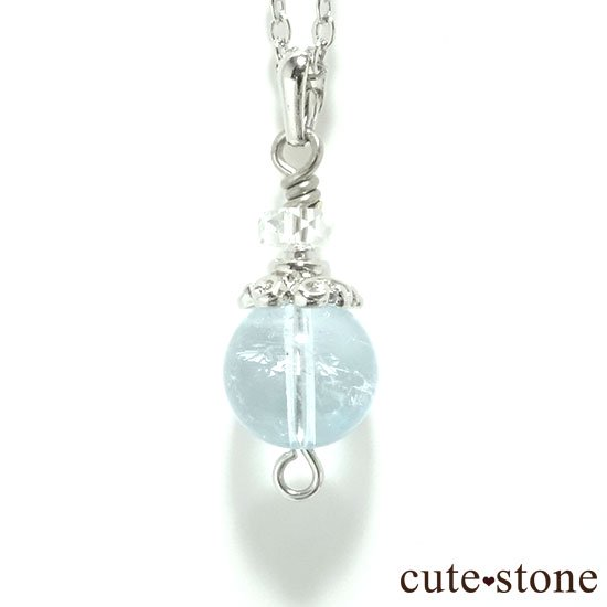 【Birthday Necklace 11月】 ブルートパーズと水晶で作った誕生石ネックレス