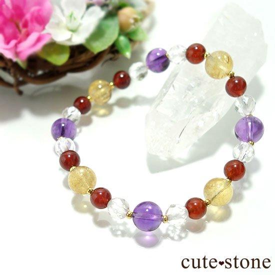 【秘密の花園】 アメジスト シトリン ヘソナイト 水晶のブレスレットの写真2 cute stone