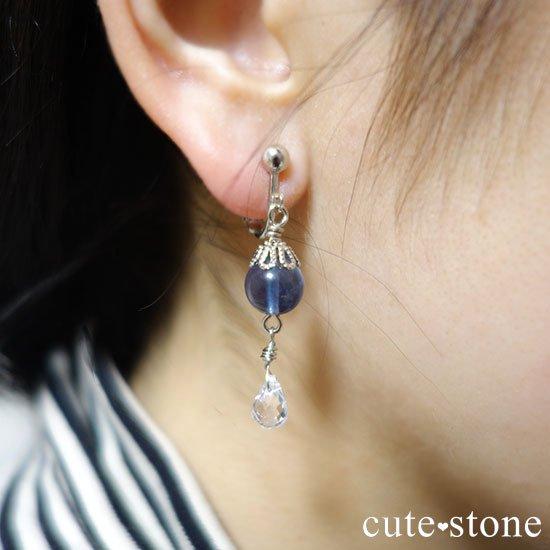 【深海の雫】 ブルーフローライト 水晶のピアス イヤリングの写真3 cute stone