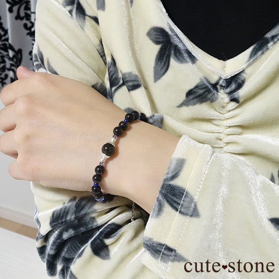 【漆黒の夜空】ブラックスターダイオプサイト ブラックスキャポライト タンザナイト ラピスラズリのブレスレットの写真7 cute stone