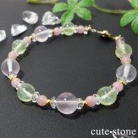 【春爛漫】プレナイト ローズクォーツ グァバクォーツ 水晶のブレスレットの画像
