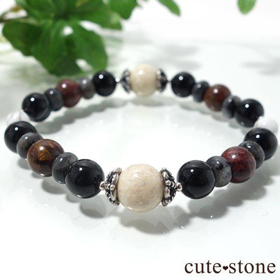 【Power of the earth】リバーストーン、オニキス、ラルビカイト、ピーターサイト、マグネサイトのブレスレットの写真3 cute stone