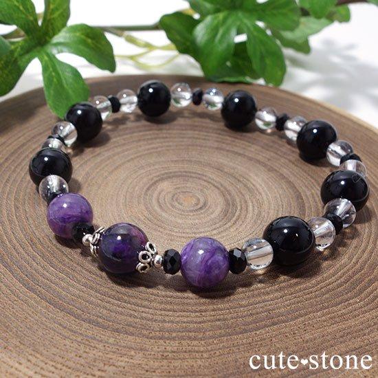 【Purple illusion】スギライト チャロアイト モリオン スティブナイトインクォーツのブレスレットの写真3 cute stone