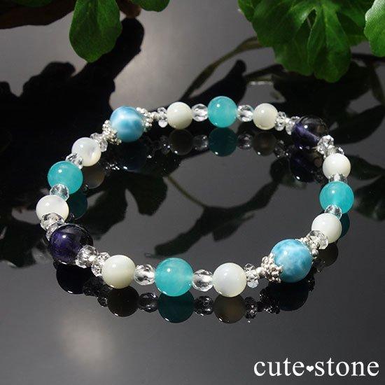 【Treasure of Mermaid】ラリマー スターアイオライト アイスアマゾナイト 水晶 マザーオブパールのブレスレットの写真5 cute stone