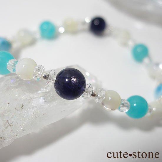 【Treasure of Mermaid】ラリマー スターアイオライト アイスアマゾナイト 水晶 マザーオブパールのブレスレットの写真6 cute stone