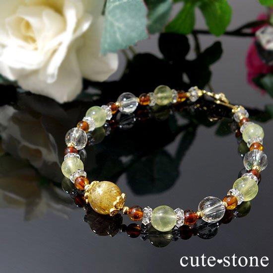 【Rapunzel】ゴールドルチル アンバー プレナイト アイスクリスタル 水晶のブレスレットの写真0 cute stone