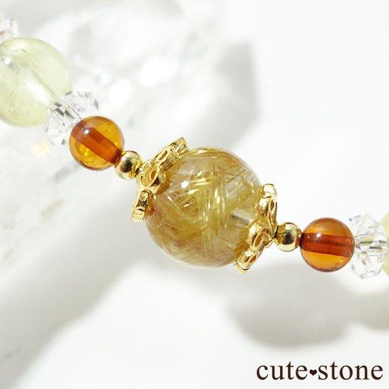 【Rapunzel】ゴールドルチル アンバー プレナイト アイスクリスタル 水晶のブレスレットの写真3 cute stone