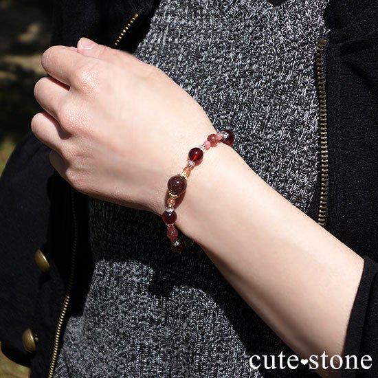 【tea time】ブラウンルチル サンストーン ヘソナイト インカローズ モスコバイトのブレスレットの写真6 cute stone