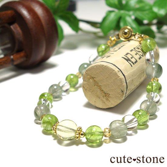 【Flesh】レモンクォーツ ペリドット シトリン アクチノライトインクォーツのブレスレットの写真1 cute stone