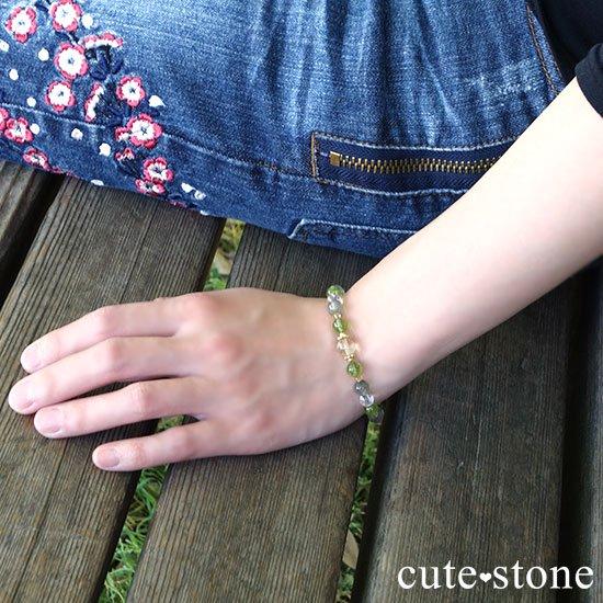 【Flesh】レモンクォーツ ペリドット シトリン アクチノライトインクォーツのブレスレットの写真4 cute stone